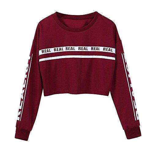 HGWXX7 Women Sweatshirt Fashion Letter Print Round Collar Short Blouse Crop Tops Pullover(M,Wine Red) ()
