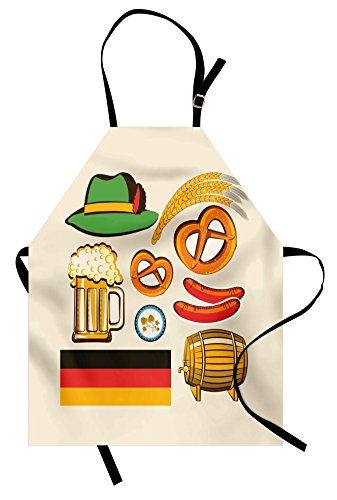(Ambesonne German Apron, Oktoberfest Wheat Sausage Beer and Pretzels Colorful Bavarian Arrangement, Unisex Kitchen Bib Apron with Adjustable Neck for Cooking Baking Gardening, Multicolor)