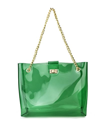 Multifunction Clear Chain Tote with Turn Lock Womens Shoulder Handbag (Green)
