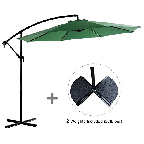 HOMEFUN Cantilever Patio Umbrella 10ft Offset Outdoor Market Aluminum Umbrella, Cross Base and Cover, 2 Weights, Green