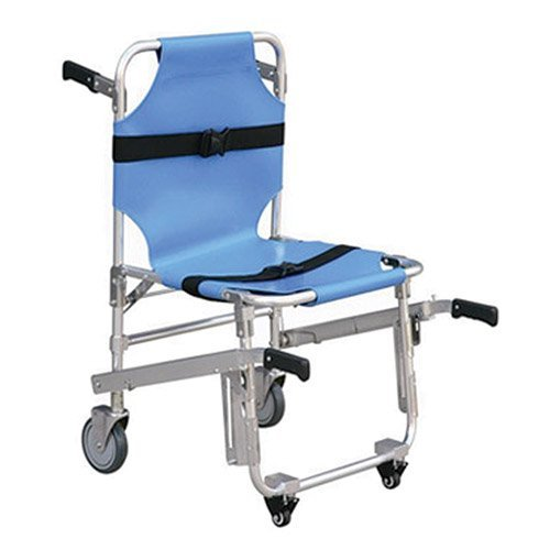 LINE2design EMS Stair Chair 4-Wheels - Ambulance Firefighter Evacuation Medical Transport Chair With Quick Release Buckles
