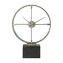 Mid Century Modern Open Silver Table Clock | Round Retro Large Desk Contemporary
