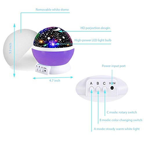 Star Projector Night Light for Kids, Moon Star Night Lights Starry Rotating Projection Lamp Party Favor Gifts for 3-12 Year Old Girls Boys Toys Age 3-12 Christmas Gifts Purple