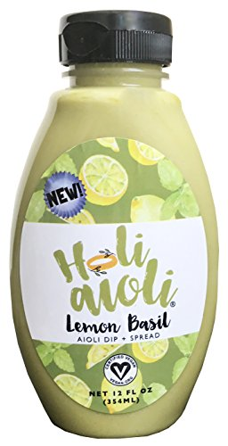 Holi Aioli Lemon Basil Sandwich Spread & Mayonnaise Alternative - Low-Calorie, Healthy, 100% Vegan Dressing Dip - Mayo Replacement Salad Dressing with Organic Ingredients - 12 Fluid Ounces