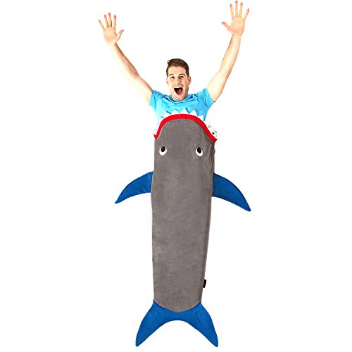 Blankie Tails Shark Blanket for Adults & Teens (Gray & Deep Blue) (Tail Bite)