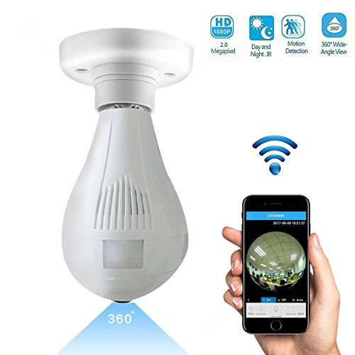 1080P Wifi Wireless Ip Bulb Camera With Fisheye Lens 360  Panoramic For Remote Home Security System Motion Detection And Two Way Talking For Iphone Android Phone Ipad  1080P