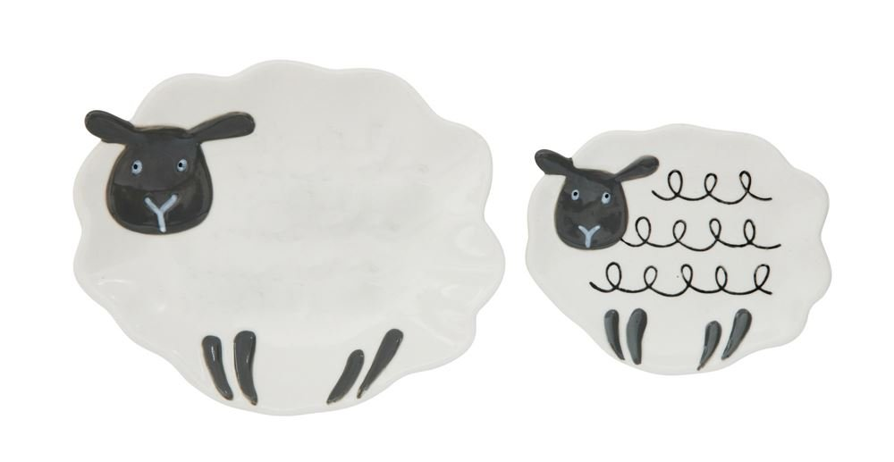 Sheep Family Ivory and Black 5.5 x 4.5 Stoneware Decorative Dishes Set of 2 Creative Co-op