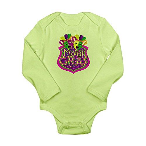 Royal Lion Long Sleeve Infant Bodysuit Mardi Gras Comedy Tragedy Masks - Kiwi, 12 to 18 Months