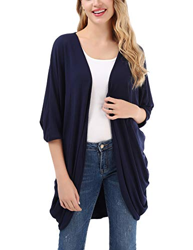 Uniboutique Women's Casual Open Front Knit Sweater Cover up Loose Sleeves Cardigan Navy Blue M (Kimono V-neck Sweater Sleeve)