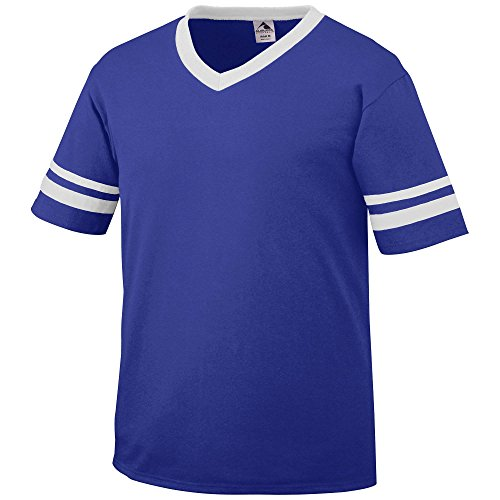 Augusta Sportswear Sleeve Stripe Jersey, Large, Purple/White