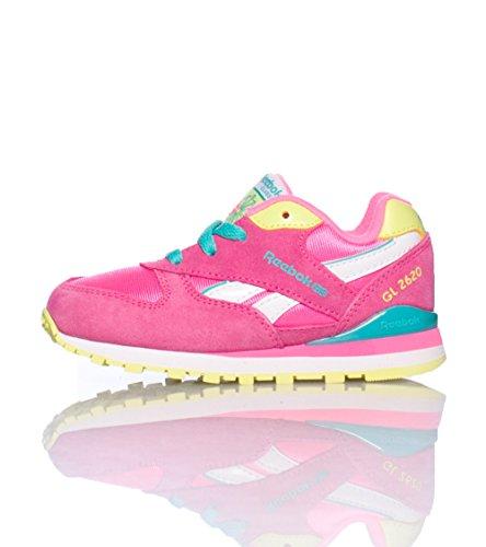 Reebok GL 2620 Classic Sneaker (Infant/Toddler),Electro Pink/Timeless Teal/High Vis Green,4 M US Toddler