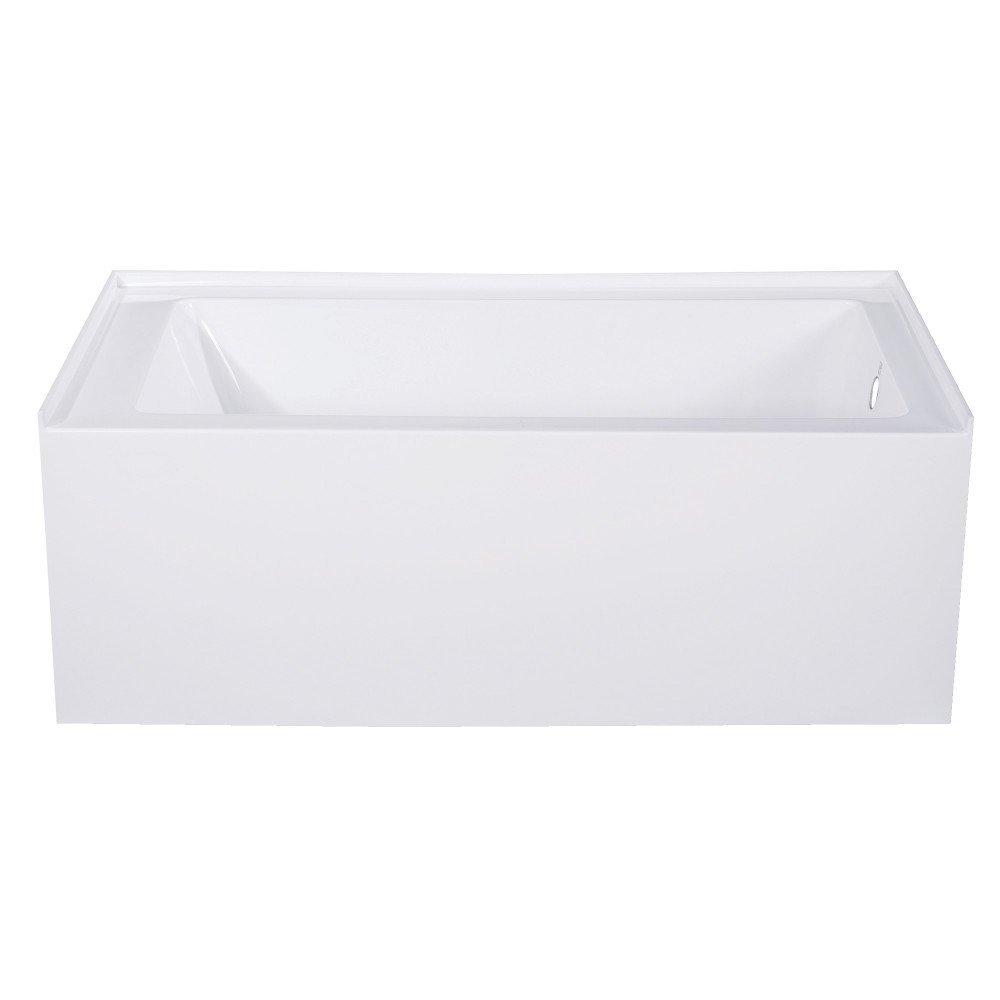 Kingston Brass VTAP543022R Aqua Eden 54-Inch Acrylic Alcove Tub with Right Hand Drain Hole White