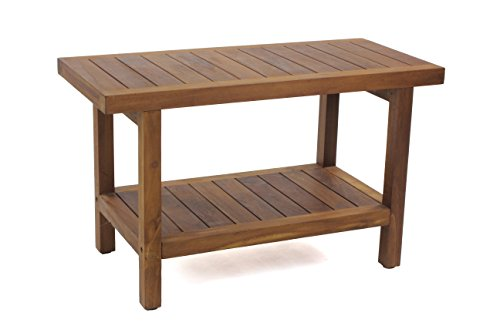 AquaTeak The Original 30″ Spa Teak Shower Bench with Shelf