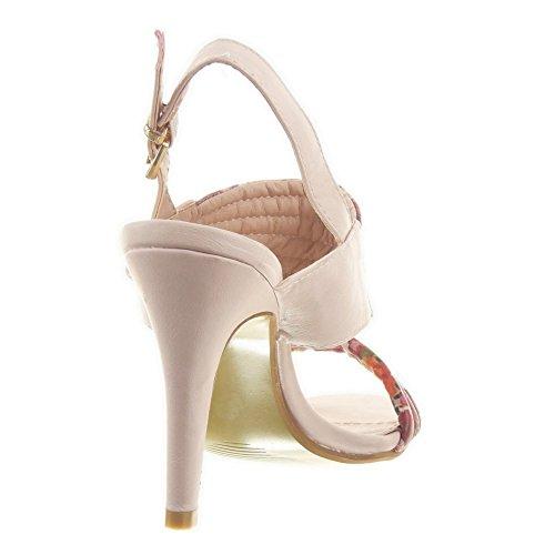 Sopily - Zapatillas de Moda Tacón escarpín Stiletto Caña baja mujer flores Líneas Hebilla Talón Tacón de aguja alto 9.5 CM - Rosa