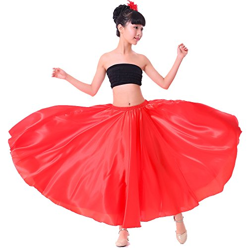 Backgarden Girl Children Color Stretched Waist Performance Circle Skirt Belly Dance Dress (M, red)