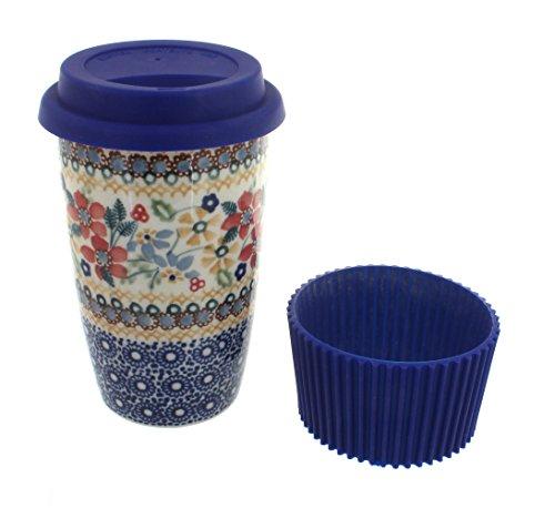 Polish Pottery Red Daisy Travel Coffee Mug by Blue Rose Pottery