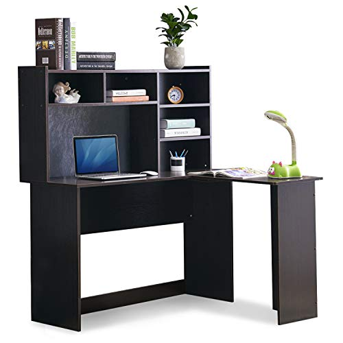 Mcombo Modern Computer Desk with Hutch L Shaped Gaming Desk Corner Desk with Shelves for Small Space Home Office Dark Brown 7194BK 47.24 W x 41.93 D x 53.15 H Inch