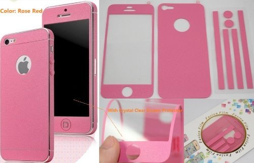 TCD Hot Pink Full Body Leather Skin Sticker Film with Clear Screen Protector for iPhone 5 5S (Pink Leather Skin)