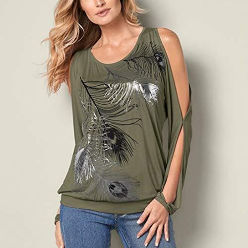Camicetta shirt Casual Piuma Stampato Moda Green Loose O T Army Scava neck Amlaiworld Donna Fuori qTa7wx0