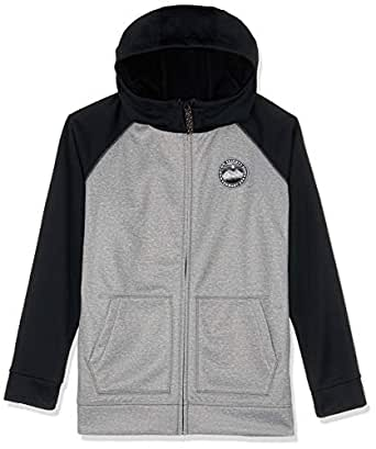 Burton Snowboards Boy's Crown Bonded Full-Zip Hoodie Shirt, Monument Heather True Black, Small