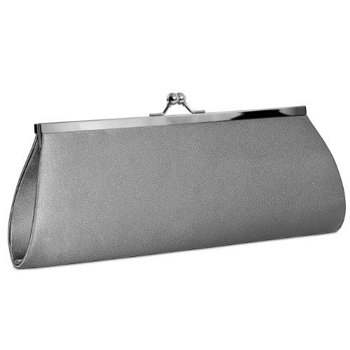 Caspar clásica mujer satén Clutch/bolso con gancho de metal elegante–Muchos colores–ta309 gris