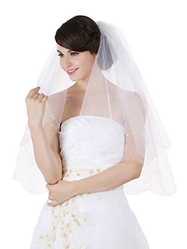 2T 2 Tier Scallop Beaded Edge Bridal Veil Ivory Fingertip Length 36