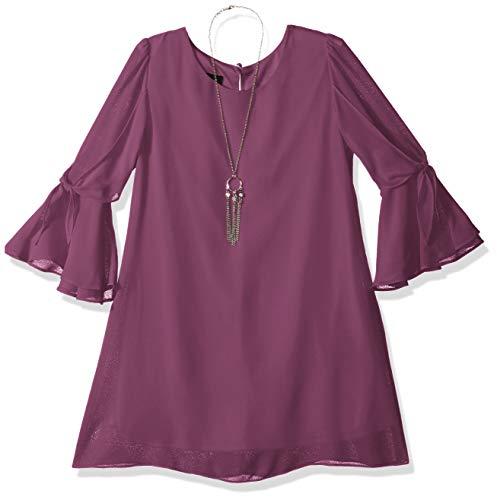 Amy Byer Girls' Big Tie Sleeve Sheath Dress and Necklace, Philly Quartz, ()