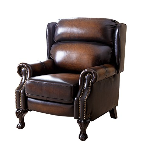 Abbyson Veda Hand Rubbed Top Grain Leather Pushback Recliner