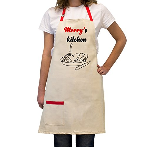 Customized Adjustable Cotton Cooking Apron with Hook -Heat-Resistant- Personalized BBQ / Cooking Kitchen Gifts for Mother, Father, Girlfriend, Boyfriend