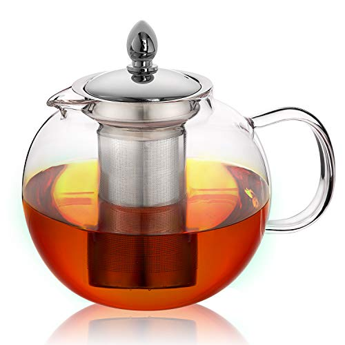 Glass Teapot, Microwavable and Stovetop Safe Tea Pot and Tea Strainer
