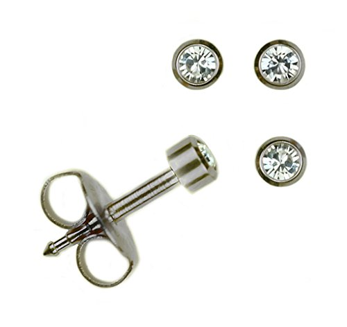 Ear Piercing Earrings Studs (Set Of 2 Pairs Mini Surgical Stainless Steel April RD2.0mm Bezel Setting Stud Earrings)
