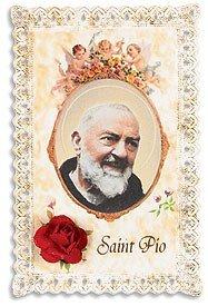- Lace Holy Prayer Card with Silk Rose Flower Keepsake Saint St Pio