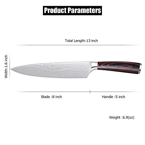 Whew Chef Knife, 8 Inch Japanese High Carbon Stainless Steel Pro Kitchen Knife with Ergonomic Handle, Razor Sharp,Stain and Corrosion Resistant,Best Choice for Home Kitchen and Restaurant by Whew (Image #5)
