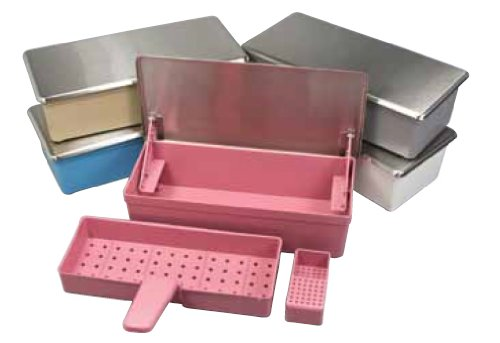 "Miltex 700225-4510-001 Germicide Tray with Stainless Steel Lid, Standard Size, 5"" Length × 10-3/4"" Width × 3"" Depth, Mauve"
