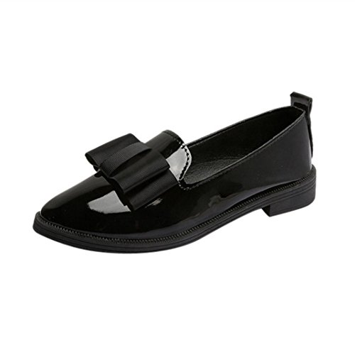 IGEMY Women Pointed Toe Oxford Shoes Casual Comfortable Slip Flat Shoes Black