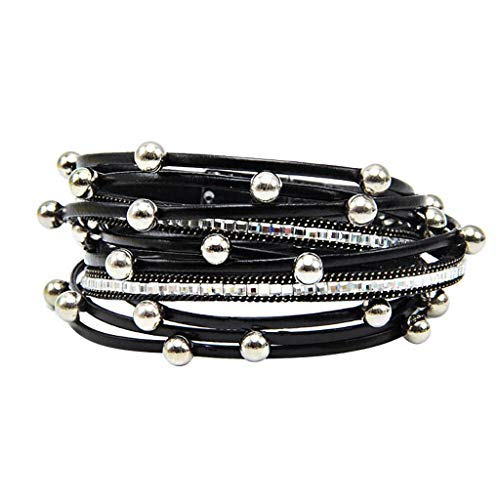 (Toponly Shining wrap Clasp Bangle for Women Leather Cuff Bracelet Multi Rope Wrap Bangle with Pearl Metallic Heart Cuffs Bracelets for Women Teen Girl Gift)