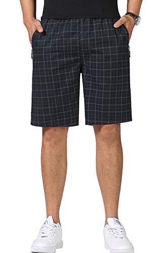 chouyatou Men's Summer Elastic Waist Straight Cotton Dashed Plaid Bermuda Shorts (X-Large, Dark Blue)