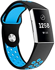 SUPORE Compatible Fitbit Charge 3 Strap Bands, Soft Silicone Adjustable Sport Watch Strap for Fitbit Charge 3 Replacement Fitness Smart Wristbands with Hole Small & Large
