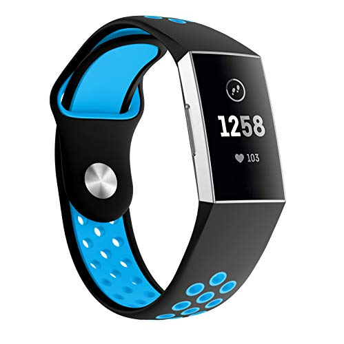 Yayuu Compatible Fitbit Charge 3 Bands Silicone, Soft Silicone Adjustable Breathable Sport Watch Strap Fitbit Charge 3/Charge 3 SE Replacement Fitness Smart Wristbands Hole Small&Large(No Tracker)