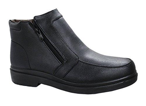 Scarpe stivaletti uomo nero casual invernali sneakers polacchine con pelliccia interna numero 40 41 42 43 44 45 Nero
