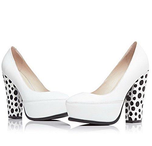 Amoonyfashion Womens Ronde Gesloten Teen Pull-on Gemengd Materiaal Polka-dots Hoge Hakken Pumps-schoenen Wit
