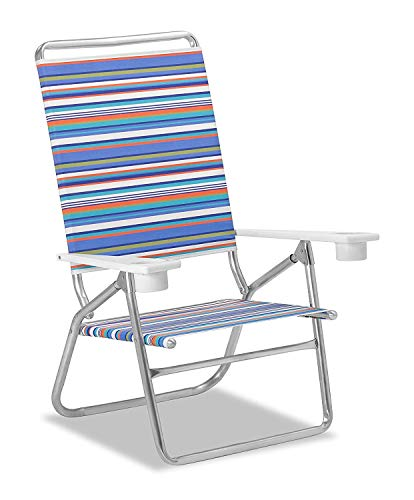 - Telescope Casual Striped Light and Easy High Boy Anodized Sliver Finish Chaise, Atlantic Blue