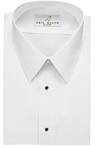 White Laydown Tuxedo Shirt - Neil Allyn Men's Tuxedo Shirt Poly/Cotton Laydown Collar 1/8 Inch Pleat (15.5 - 32/33) White