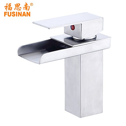 Lpophy Bathroom Sink Mixer Taps Faucet Bath Waterfall Cold and Hot Water Tap for Washroom Bathroom and Kitchen Hot and Cold 304 Stainless Steel Hot and Cold Waterfall Type Water Mixing