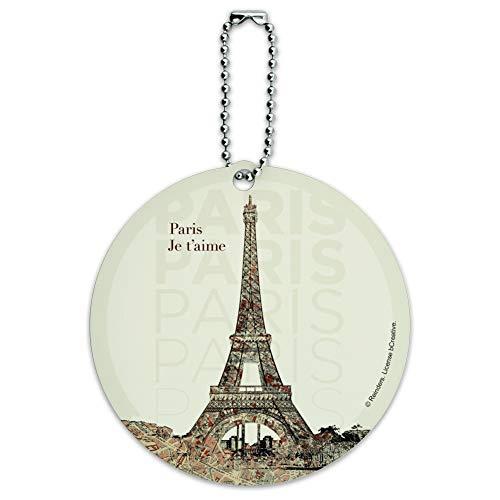 Paris, Je t'aime I Love You Eiffel Towe Round Luggage ID Tag