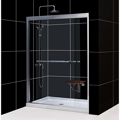DreamLine DL-6951C-01CL Duet Frameless Bypass Sliding Shower Door and SlimLine 32 x 60 Single Threshold Shower Base Center Drain