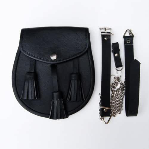 Black Leather Sporran with Tassles