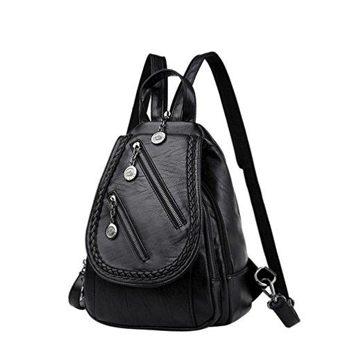 Sacs à bandoulière de femme fille mode couleur unie edge sac à dos Sac à dos en cuir double zip sac à bandoulière étudiant de Sansee Noir