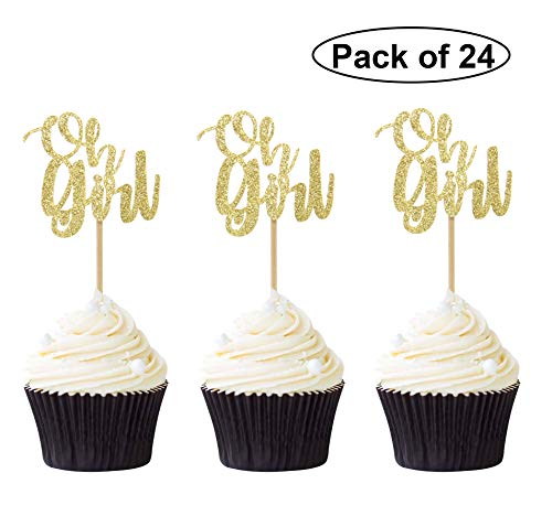Pack of 24 Gold Glitter Oh girl Cupcake Toppers Picks for Wedding Birthday Baby Shower Party Decorations]()