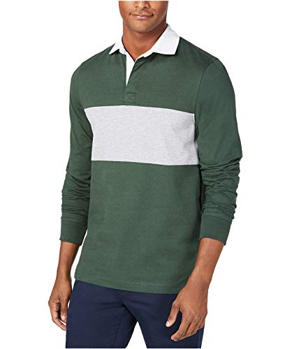 Club Room Men's Long Sleeve Pieced Chest Colorblocked Rugby Polo ()